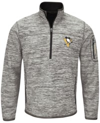 G3 Sports Men's Pittsburgh Penguins Fast Pace 1 4 Zip Pullover Gray Black