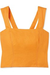 Nicholas Cropped Button Embellished Linen Top Orange