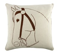 Thomas Paul Thoroughbred Flax Pillow 22 X 22 Brown