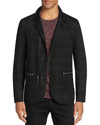 John Varvatos Collection Patterned Knit Dual Closure Slim Fit Blazer Black