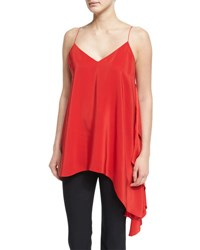 Cinq A Sept Romeo Sleeveless V Neck Draped Top Venetian Red