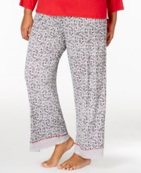 Ellen Tracy Plus Size Contrast Trimmed Pajama Pants Black Print