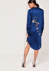 Missguided Embroidery Back Shirt Dress Navy Blue