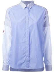 Each X Other Concealed Fastening Striped Shirt Blue