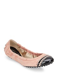Tod's Studded Suede Cap Toe Ballet Flats Grey
