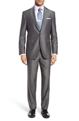 David Donahue Men's Big And Tall Ryan Classic Fit Solid Wool Suit Mid Grey
