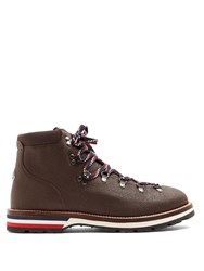 Moncler Peak Grained Leather Ankle Boots Brown Multi