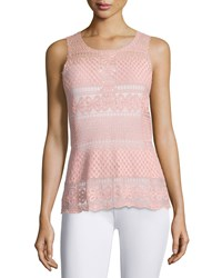 Laundry By Shelli Segal Floral Diamond Lace Tank Rose Tan
