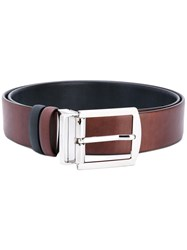 Kiton Silver Buckle Belt Men Leather 100 Red