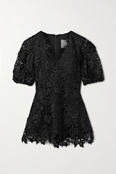 Lela Rose Embroidered Guipure Lace Blouse Black