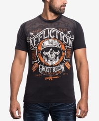 Affliction Men's Graphic Print T Shirt Dip Dye Resin Wash