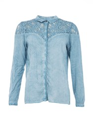 Garcia Stonewashed Shirt With Lace Panel Blue