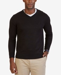 Nautica Men's V Neck Sweater True Black