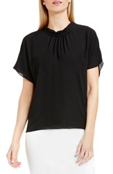 Vince Camuto Women's Shirred Mock Neck Blouse Rich Black