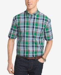 Izod Men's Plaid Short Sleeve Shirt Ice Green