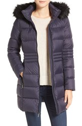 French Connection Women's Faux Fur Trim Down Coat Utility Blue