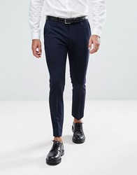 Asos Super Skinny Cropped Smart Trousers In Navy Navy