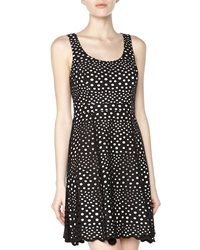 Ali Ro Sleeveless Eyelet Fit And Flare Dress Black White