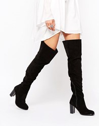 London Rebel Over The Knee Heeled Boots Black Mf