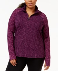 Ideology Plus Size Quarter Zip Printed Sport Jacket Only At Macy's Scattered Purple