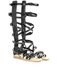 Balenciaga Leather Gladiator Sandals Black