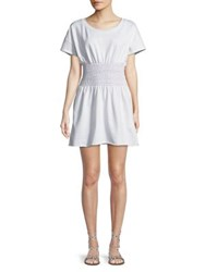Design Lab Lord And Taylor Smock Waist Fit Flare Dress Grey
