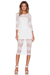 David Lerner Lace Midi Dress White