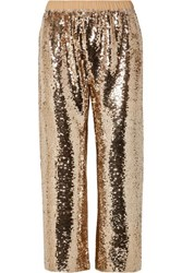 Figue Verushka Cropped Sequined Tulle Pants Gold