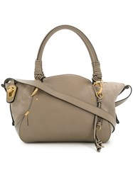 Chloe Owen Tote Bag Cotton Leather Calf Suede Nude Neutrals
