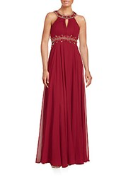 Sue Wong Embellished Column Gown Port