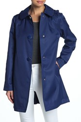 Kate Spade Solid Hooded Rain Coat French Navy