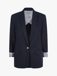 Jaeger Single Breasted Linen Blazer Dark Blue