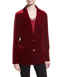 Joan Vass Stretch Velvet Two Button Blazer Petite Cranberry