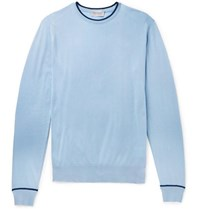 John Smedley Contrast Tipped Sea Island Cotton Sweater Blue