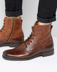 Zign Leather Lace Up Boots Brown