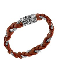 Men's Chain Woven Braided Leather Bracelet Red John Hardy