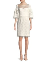 Nue By Shani Lace Covered Bell Sleeve Dress Ivory