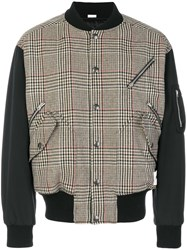 Stella Mccartney Dogtooth Bomber Jacket Polyamide Viscose Wool Other Fibers Brown