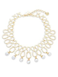 Saks Fifth Avenue Faux Pearl Scroll Statement Necklace Pearl Gold
