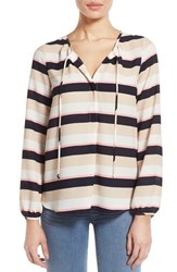 Women's Gibson Tie Neck Peasant Blouse Navy Pink Natural