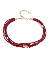 Design Lab Lord And Taylor Multi Row Corded Choker Necklace Red