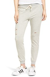 Pam And Gela Women's Betsee Distressed Jogger Pants Heather Grey