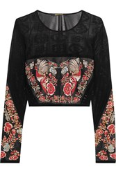 Roberto Cavalli Cropped Jacquard Top Black