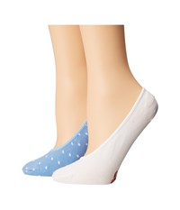 Cole Haan 2 Pack Pin Dot Liner Skyway White Women's Crew Cut Socks Shoes Blue