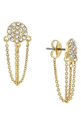 Women's Vince Camuto Pave Disc Stud Ear Chains Gold
