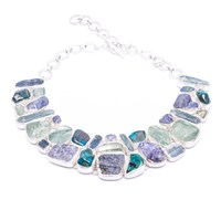 Poppy Jewellery Aquamarine Tanzanite Chrysocolla Kyanite Gemstone Silver Necklace Blue