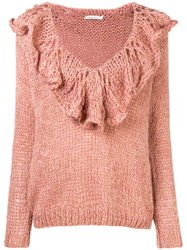 Mes Demoiselles Ruffle Collar Knit Jumper Pink And Purple