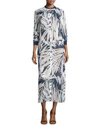 Lafayette 148 New York Darrin 3 4 Sleeve Printed Cotton Dress White Multi