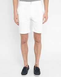 M.Studio White Paul Fitted Cotton Shorts