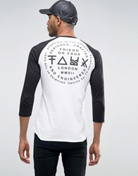 Friend Or Faux Back Print Raglan Long Sleeve Top White